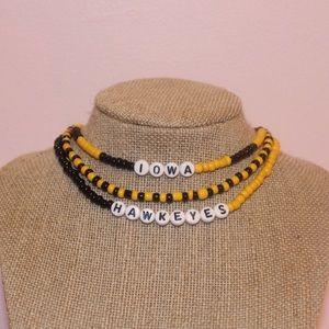 Iowa Hawkeyes Seed Bead Choker Necklace Set